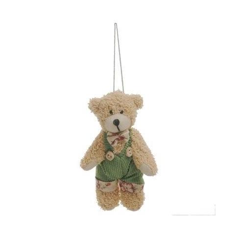 Mini Urso Bege com Jardineira Flor - Verde