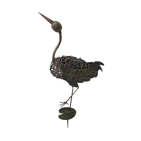 Pássaro Tropical 1 com estaca (26x13x64cm) - bronze