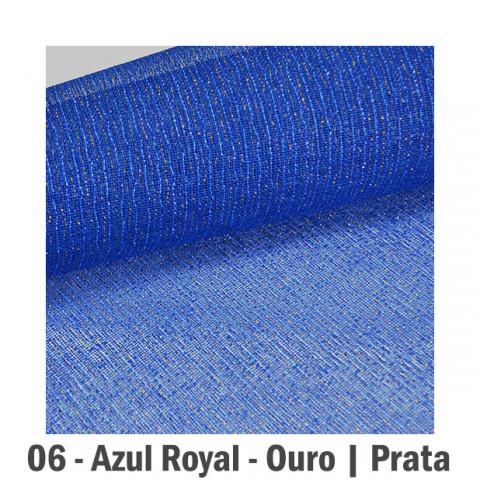 Tela Fechada de Algodão - Azul Royal | Ouro e Prata (65x65cm)