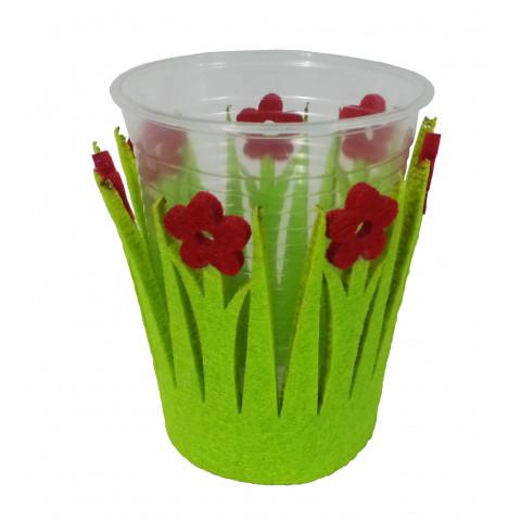 Kit Suporte para Copos Feltro Verde com Flor Vermelha
