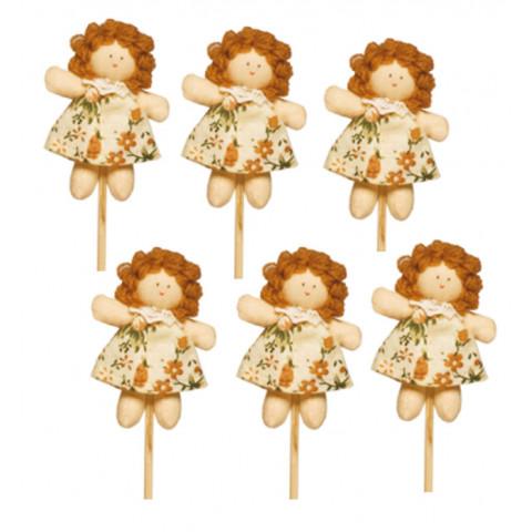 Pacote - Pick Boneca Juju Vestido Florido Bege