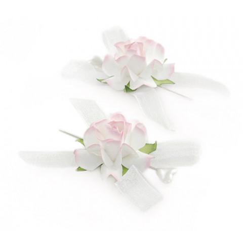 Alfinete Bicolor Rosas - Branco com Rosa