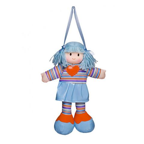 Boneca Liza Vestido Listrado Azul Com Coração Laranja