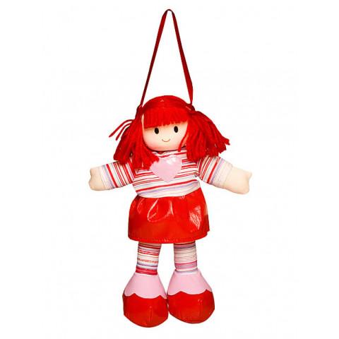 Boneca Liza Vestido Listrado Vermelho Com Coração Rosa