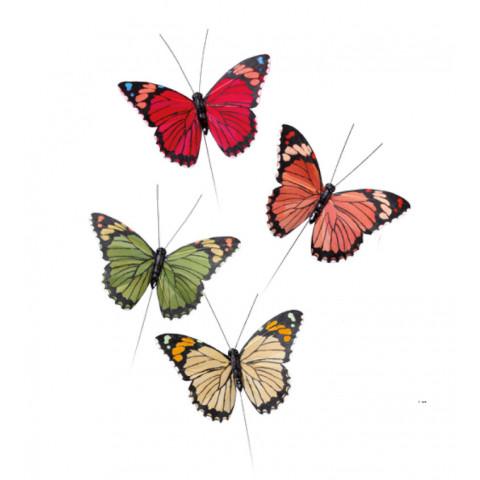 Borboleta - Amarela, Verde, Laranja e Vermelha