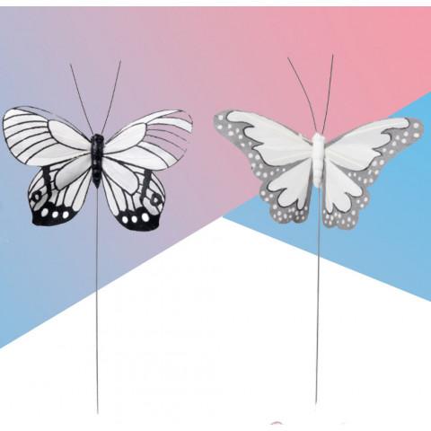 Borboleta Branca Cinza e Azul