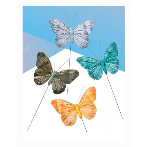 Borboleta - Laranja, Verde, Cinza e Azul