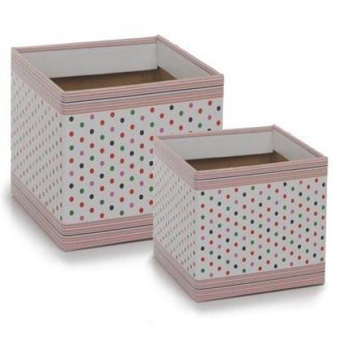 Cachepot 15 - Quadrado Branco com Poá Multicolorido