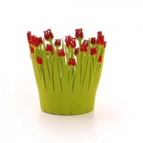 Cachepot Feltro Tulipa D11 - Vermelho