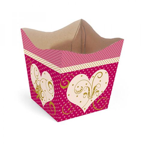 Cachepot G - Corações Arabescos Pink