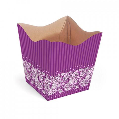 Cachepot G - Renda Floral - Roxo