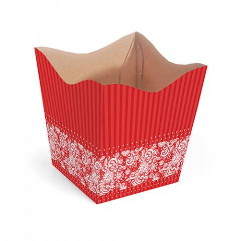 Cachepot G - Renda Floral - Vermelho