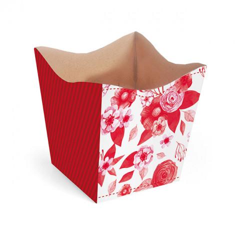 Cachepot P - Flores Vermelhas