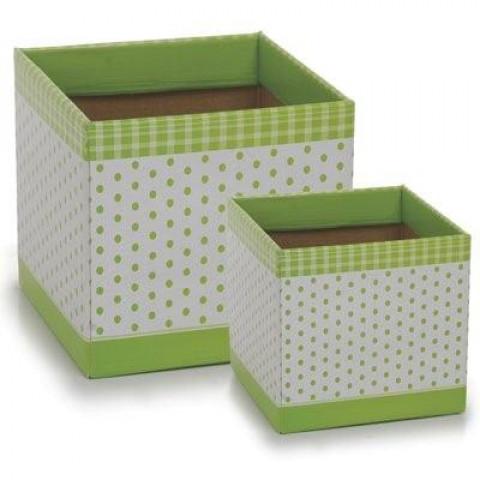 Cachepot P - Quadrado Poá Verde