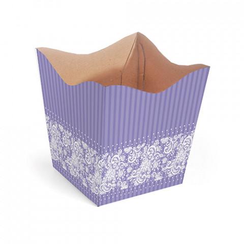 Cachepot P - Renda Floral - Lilás