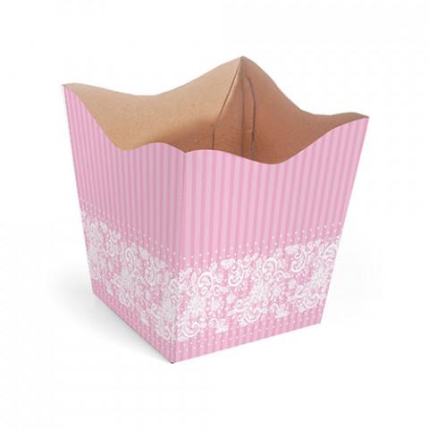 Cachepot P - Renda Floral - Rosa