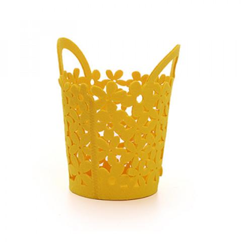 Cesta com Alça Feltro - Amarelo