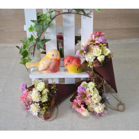Fio Decorativo - Cone Madeira c/Flores do Campo