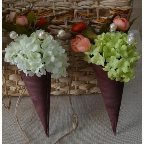 Fio Decorativo - Cone Madeira c/Hortensias