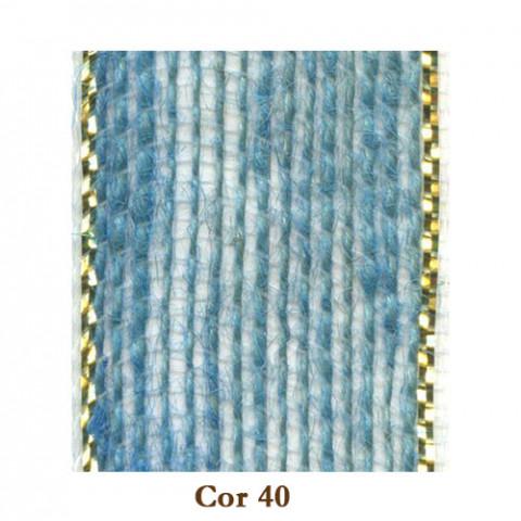 Fita de Juta - Azul Bebê / Ouro (3210-40)