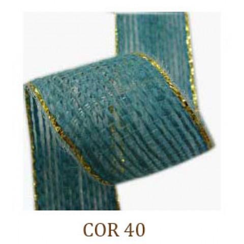 Fita de Juta - Azul Bebê / Ouro (3260-40)