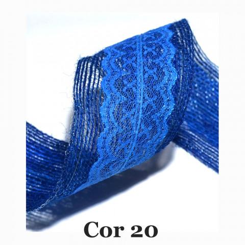 Fita de Juta com Dupla Renda - Azul Royal [Largura 6,0 cm)