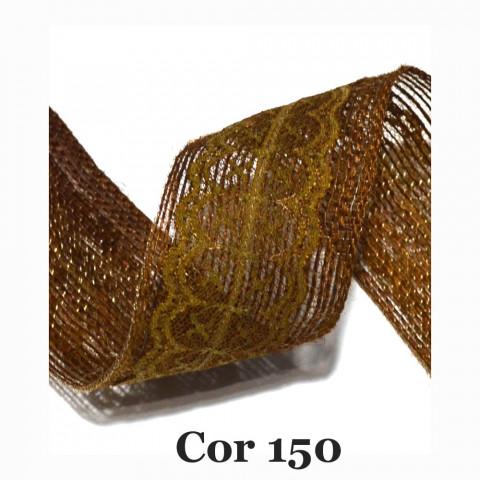 Fita de Juta com Dupla Renda - Caramelo  [Largura 6,0 cm)