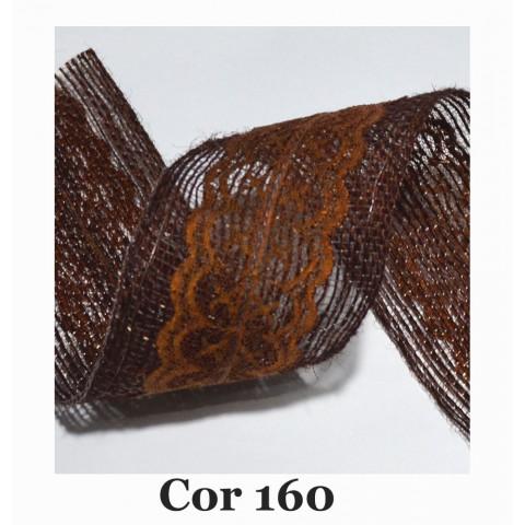 Fita de Juta com Dupla Renda - Marrom  [Largura 6,0 cm)