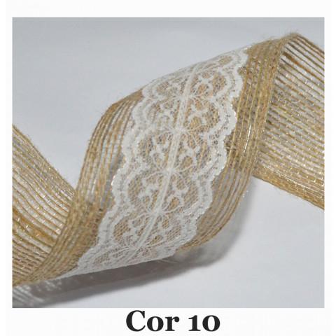 Fita de Juta com Dupla Renda - Natural [Largura 6,0 cm)