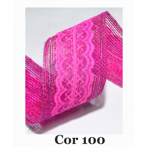 Fita de Juta com Dupla Renda - Rosa  [Largura 6,0 cm)