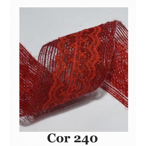 Fita de Juta com Dupla Renda - Vermelho [Largura 6,0 cm)