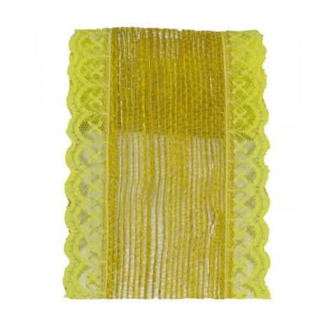 Fita de Juta com Renda - Amarelo [Largura 7 cm]