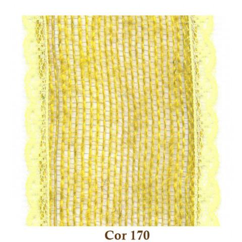 Fita de Juta com Renda - Amarelo [Largura 8,0 cm]