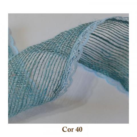 Fita de Juta com Renda - Azul Bebê [Largura 5,0 cm]