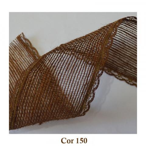 Fita de Juta com Renda - Caramelo [Largura 5,0 cm]