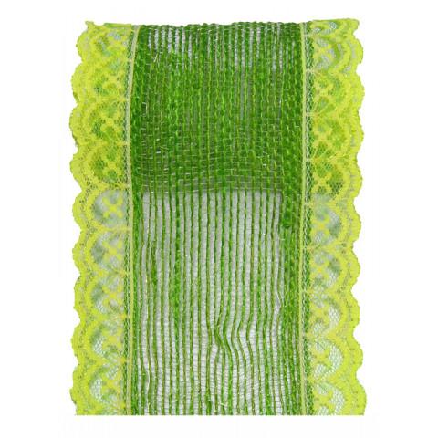 Fita de Juta com Renda - Verde Lima [Largura 7 cm]