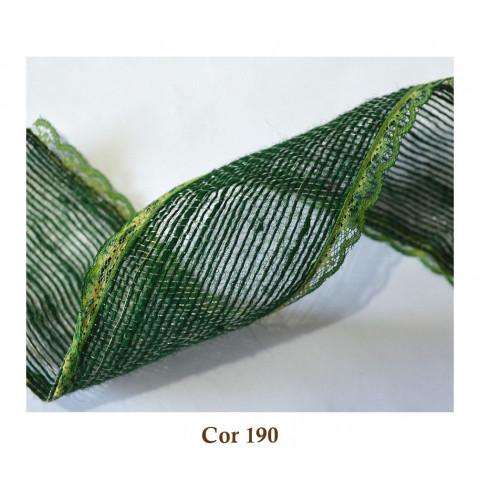 Fita de Juta com Renda - Verde Musgo [Largura 5,0 cm]
