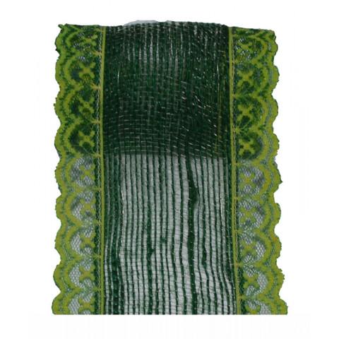 Fita de Juta com Renda - Verde Musgo [Largura 7 cm]