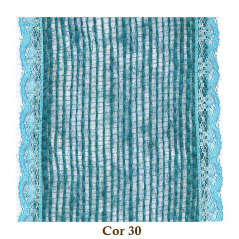 Fita de Juta com Renda - Verde Ocean [Largura 7,0 cm]