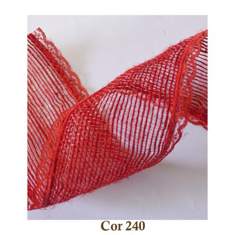 Fita de Juta com Renda - Vermelho [Largura 5,0 cm]