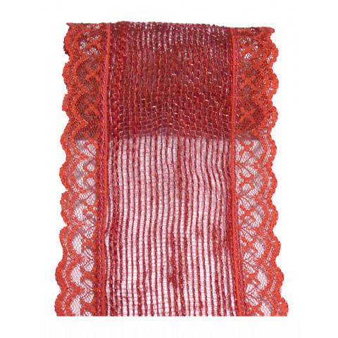 Fita de Juta com Renda - Vermelho [Largura 7 cm]