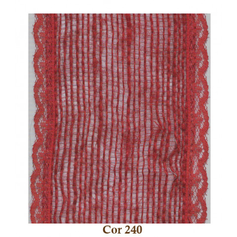 Fita de Juta com Renda - Vermelho [Largura 8,0 cm]