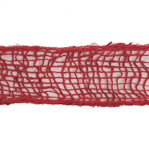 Fita de Juta Natural - Trama Aberta - Vermelho