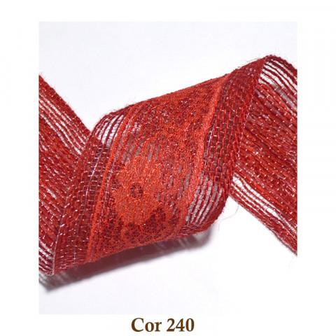 Fita de Juta | Renda - Vermelho [Largura 60mm]