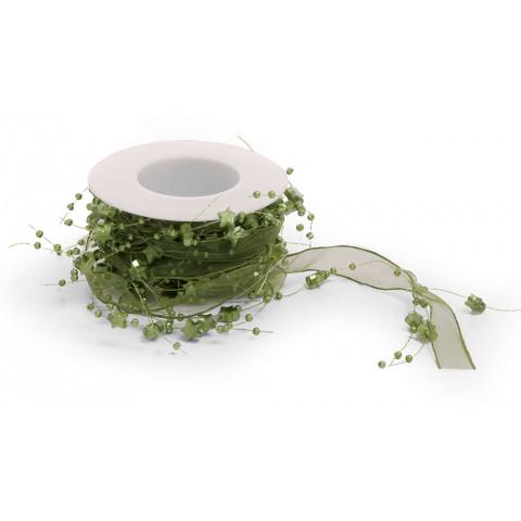 Fita Voil Decorativa com Pingente Estrelas - Verde