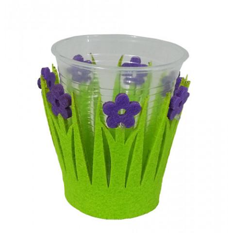 Kit Suporte para copos - Feltro Verde com Flor Lilás