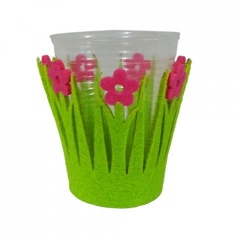 Kit Suporte para Copos Feltro Verde com Flor Pink