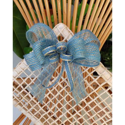 Laço de Juta (M) - Triplo Azul Bebe
