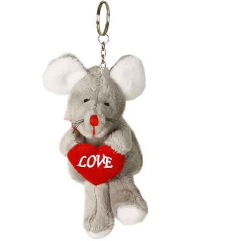 Pacote Chaveiro de Pelúcia - Rato com Coração (CINZA)