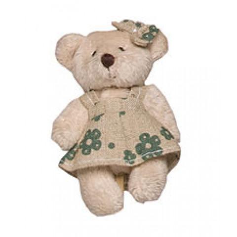 Pelucia Urso Bege Vestido Florido Verde